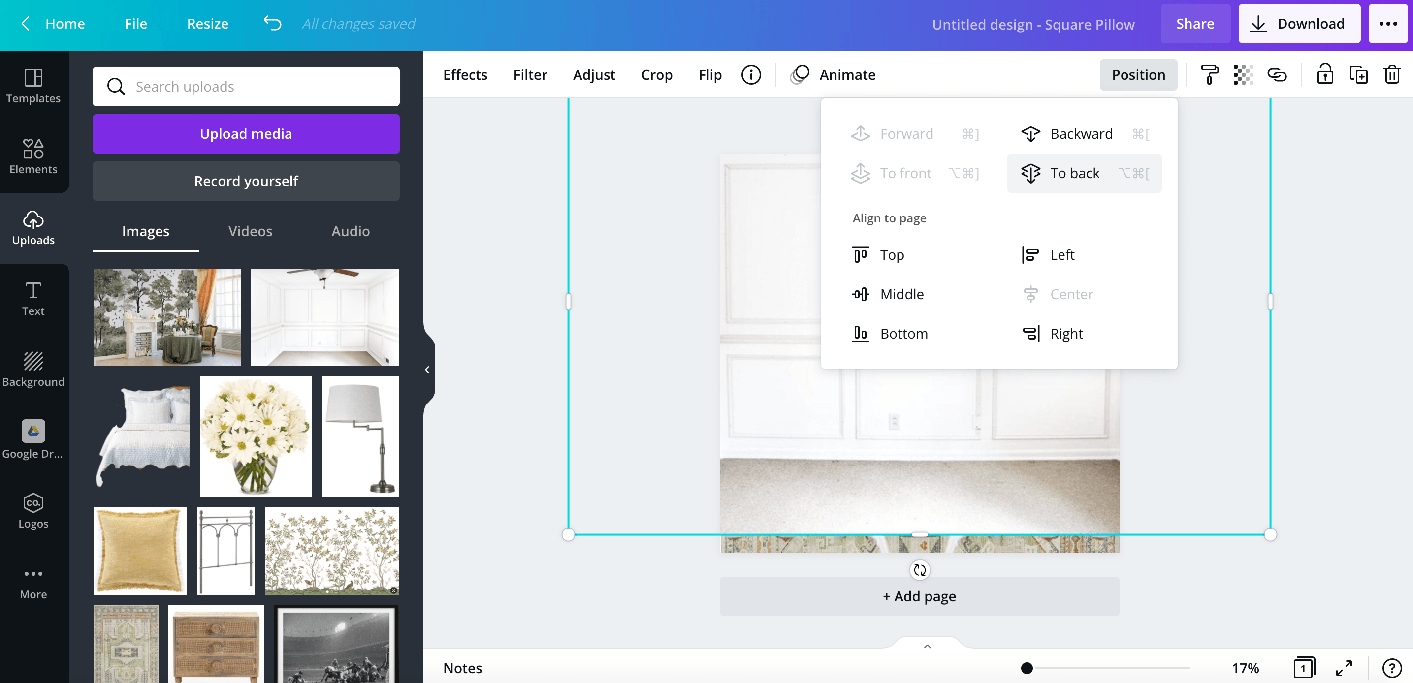 how to make a room design mood board using the canva app
