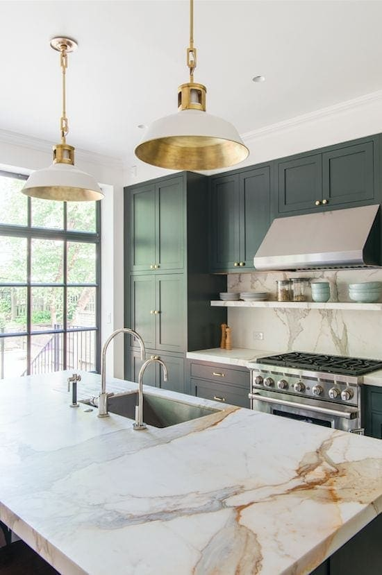 A round-up of the best green kitchen cabinet paint colors for the hottest bold kitchen color trend. #greenkitchen #kitcheninspiration #paintcolors #greenpaint #kitcheninspiration #boldkitchen #greencabinets #greenpaintcolor #paintinspiration #kitchentrend