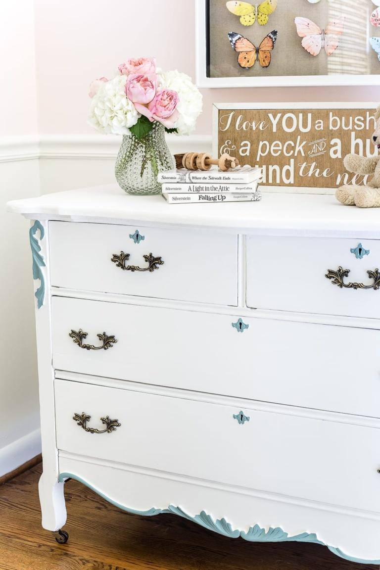 Aqua and White French Dresser Makeover