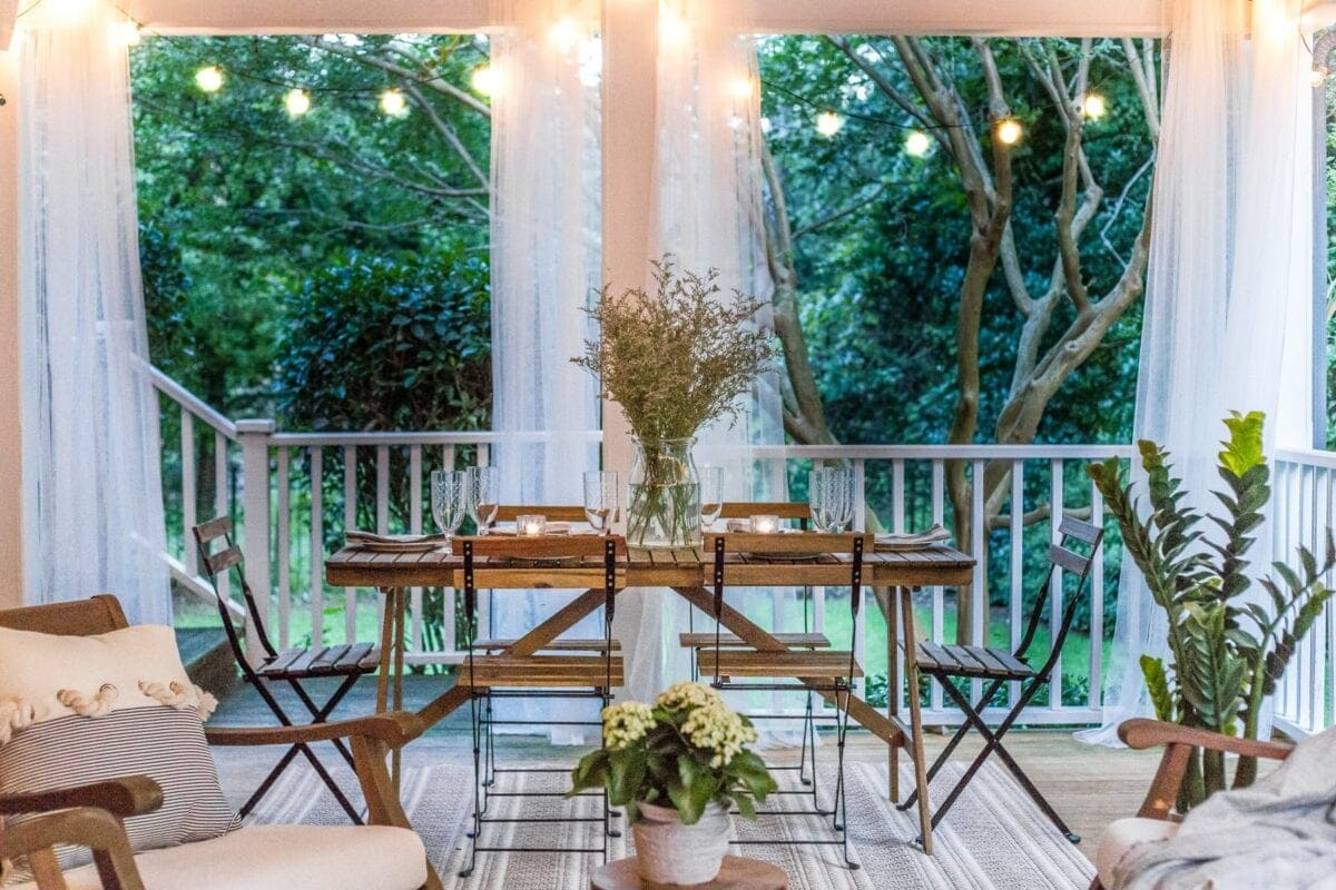 back porch with string lights in summer