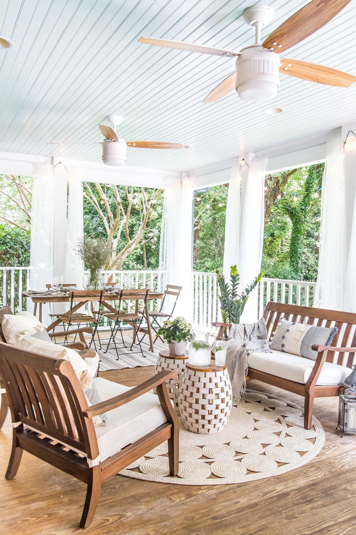 back porch with haint blue ceiling in Benjamin Moore Palladian Blue