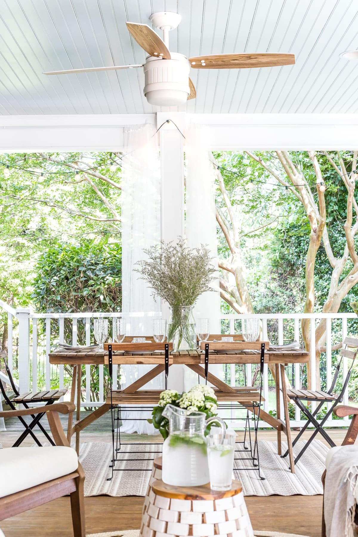 back porch summer outdoor dining table