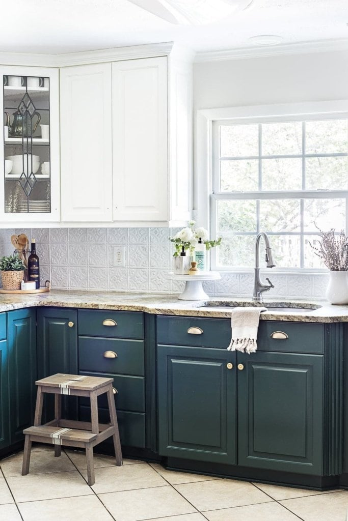 exciting green kitchens white cabinets | Green Kitchen Cabinet Update - Bless'er House