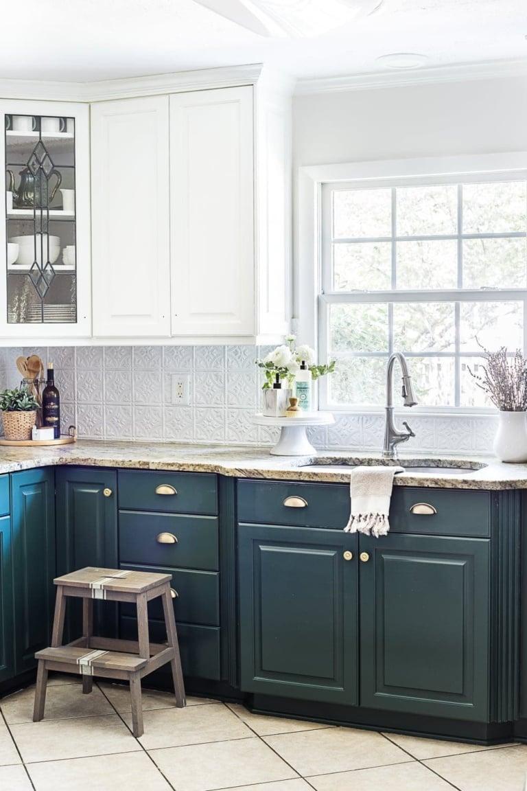 Green Kitchen Cabinet Update