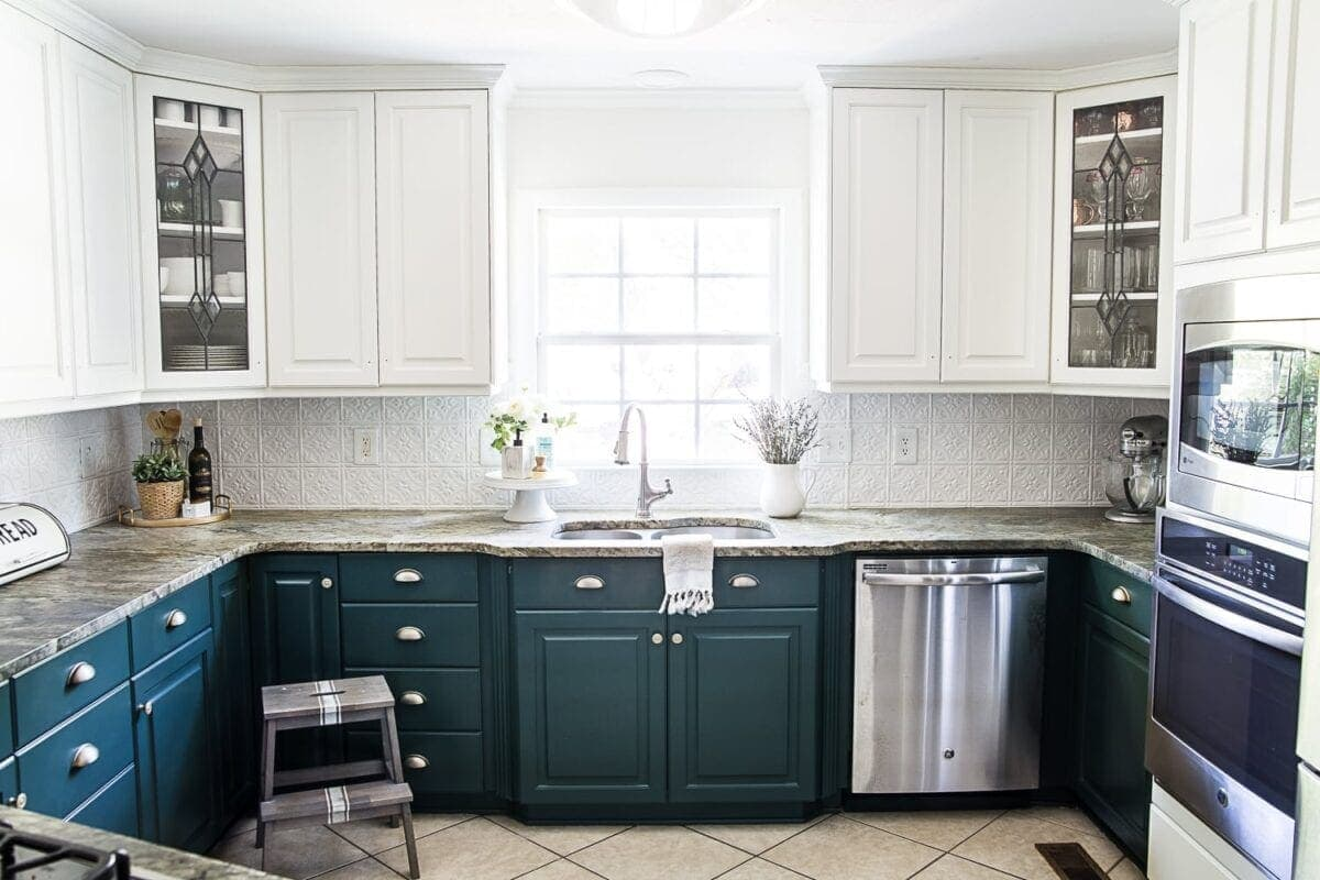 deep green painted kitchen cabinets