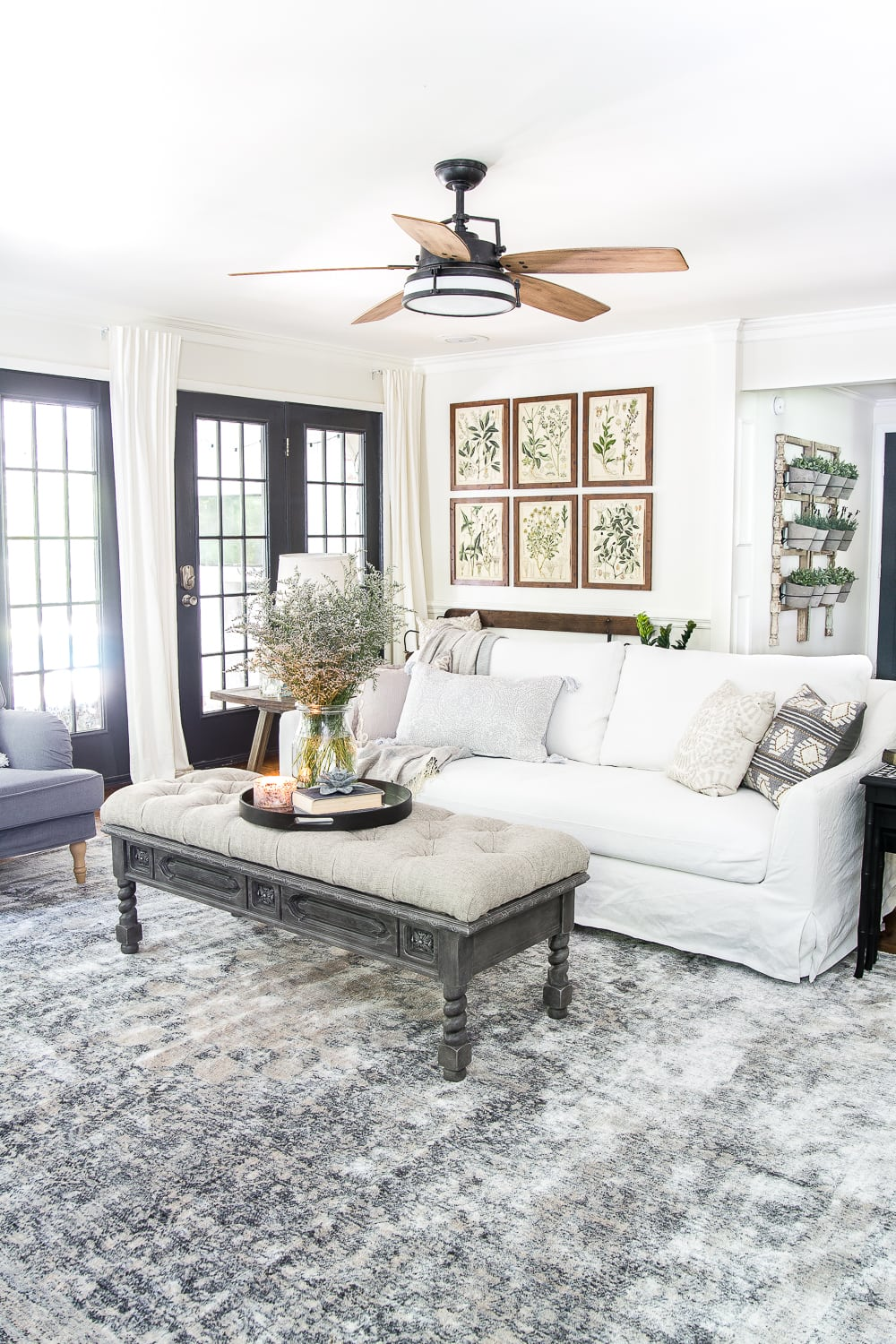 summer living room with modern farmhouse traditional style