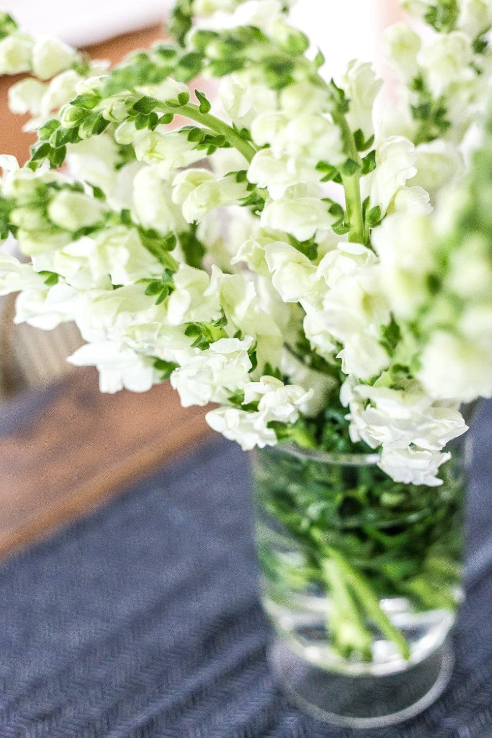white summer flowers in a vase