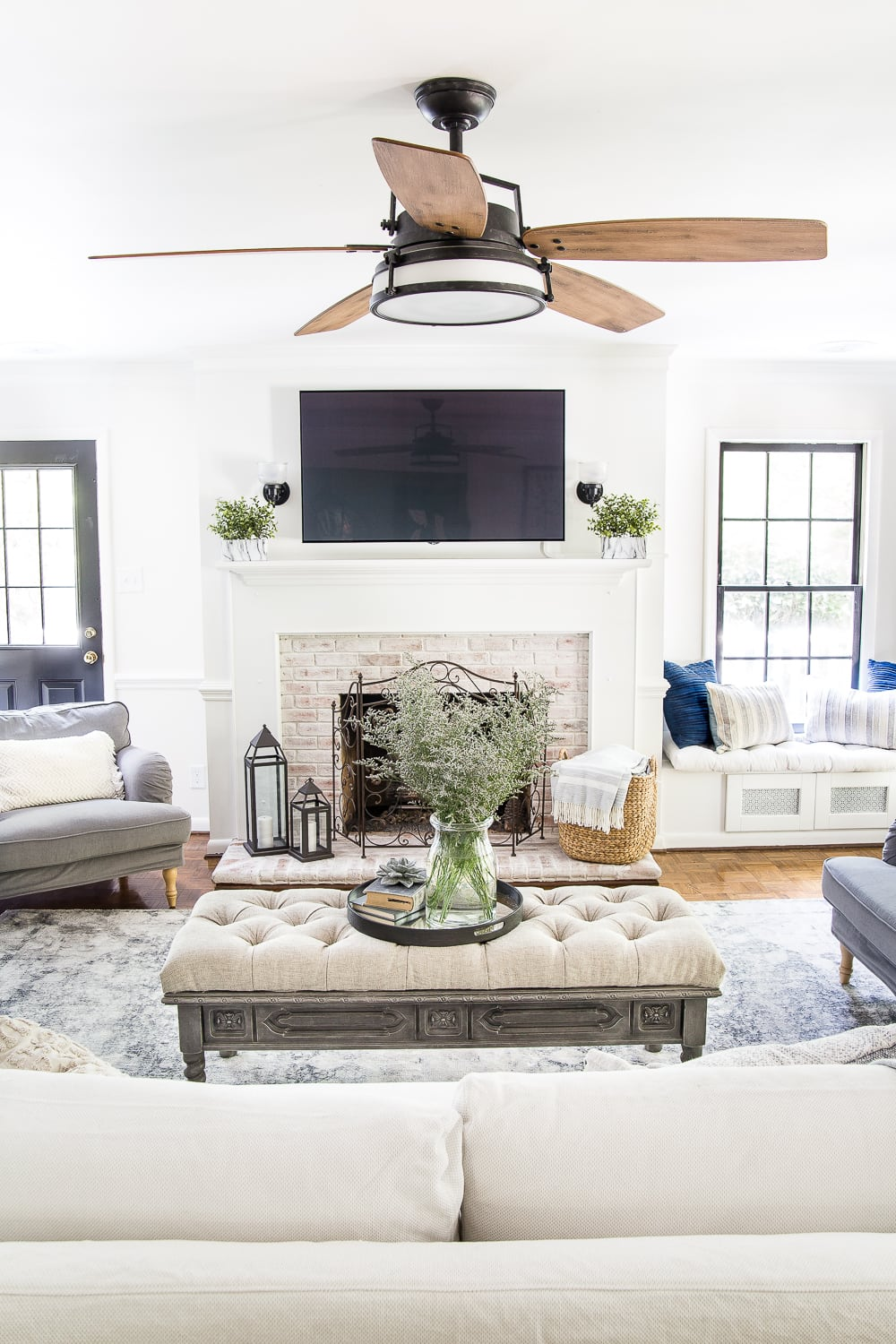 Light and airy summer living room with modern farmhouse style