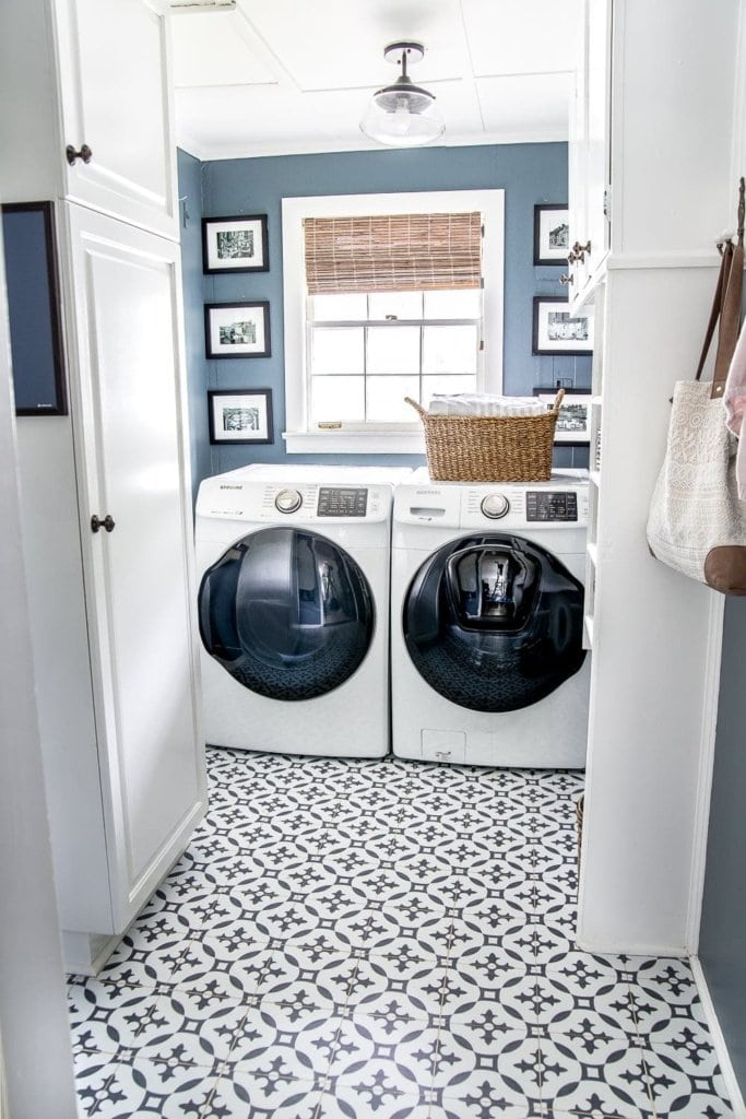 inexpensive laundry room makeover with patterned vinyl tile floor
