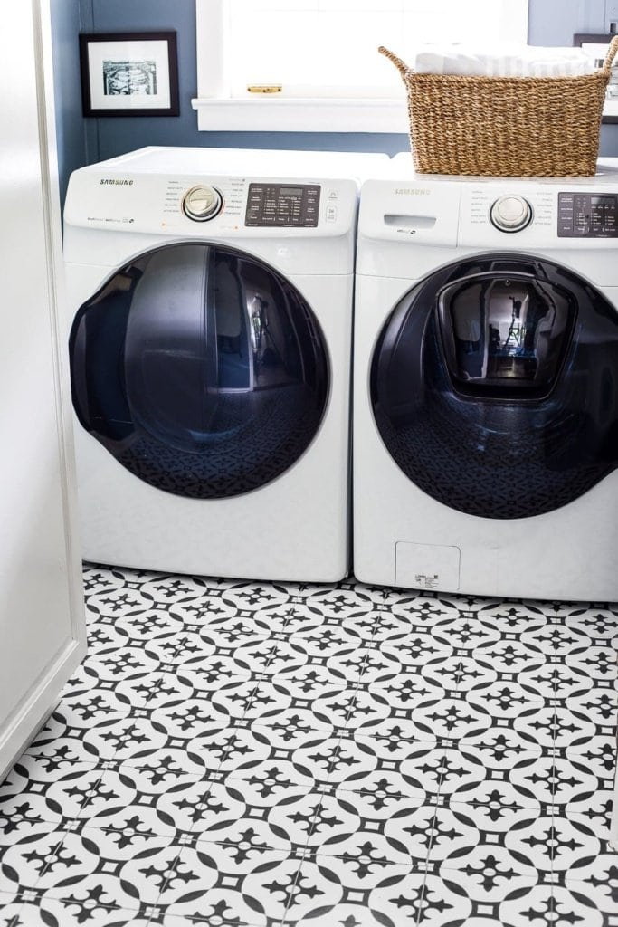 laundry room vinyl tile Moroccan patterned floor