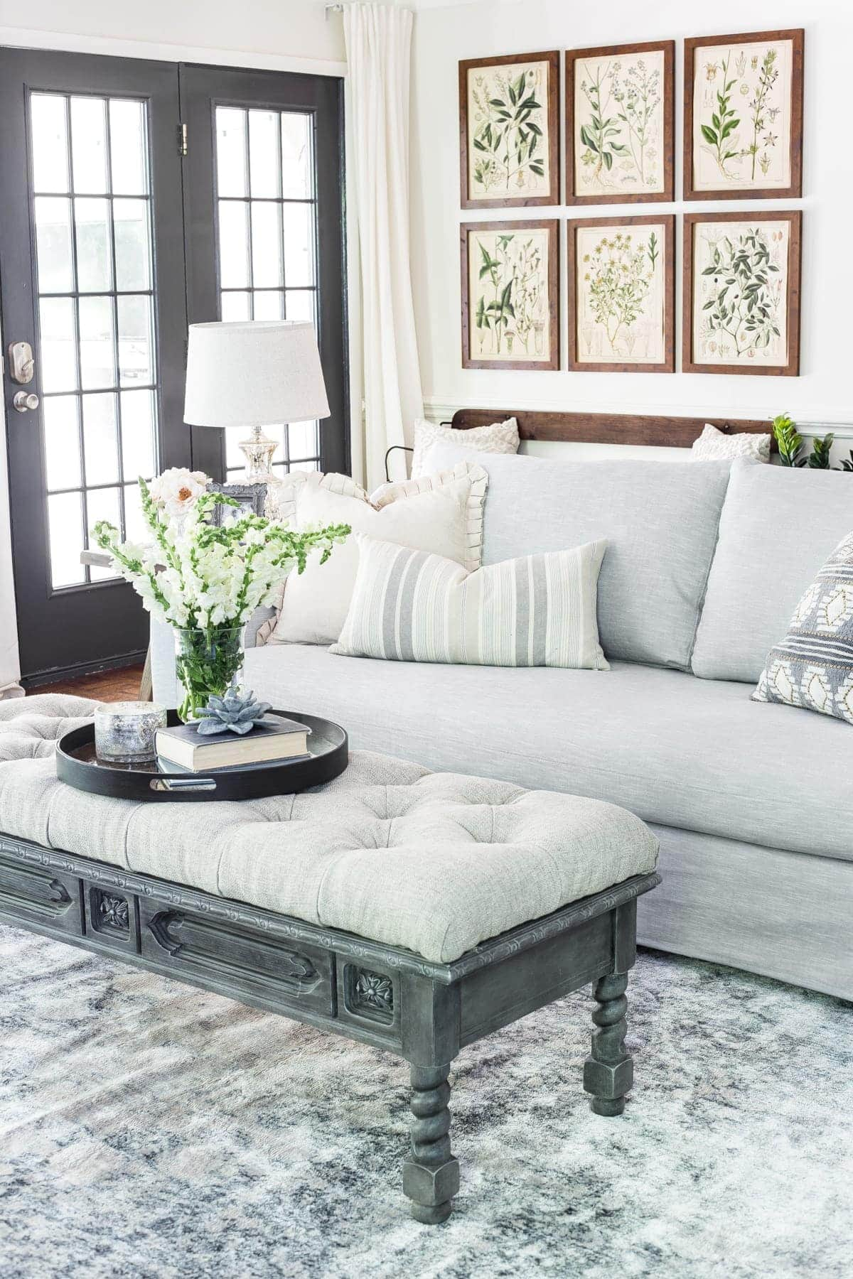 Neutral modern farmhouse with IKEA Farlov slipcover