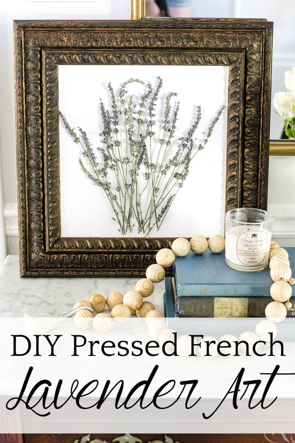 A step-by-step tutorial for making vintage French style pressed lavender art using a thrifted frame, plus a preview of the book French Vintage Decor. #frenchdecor #diyart #pressedflowers #frenchart