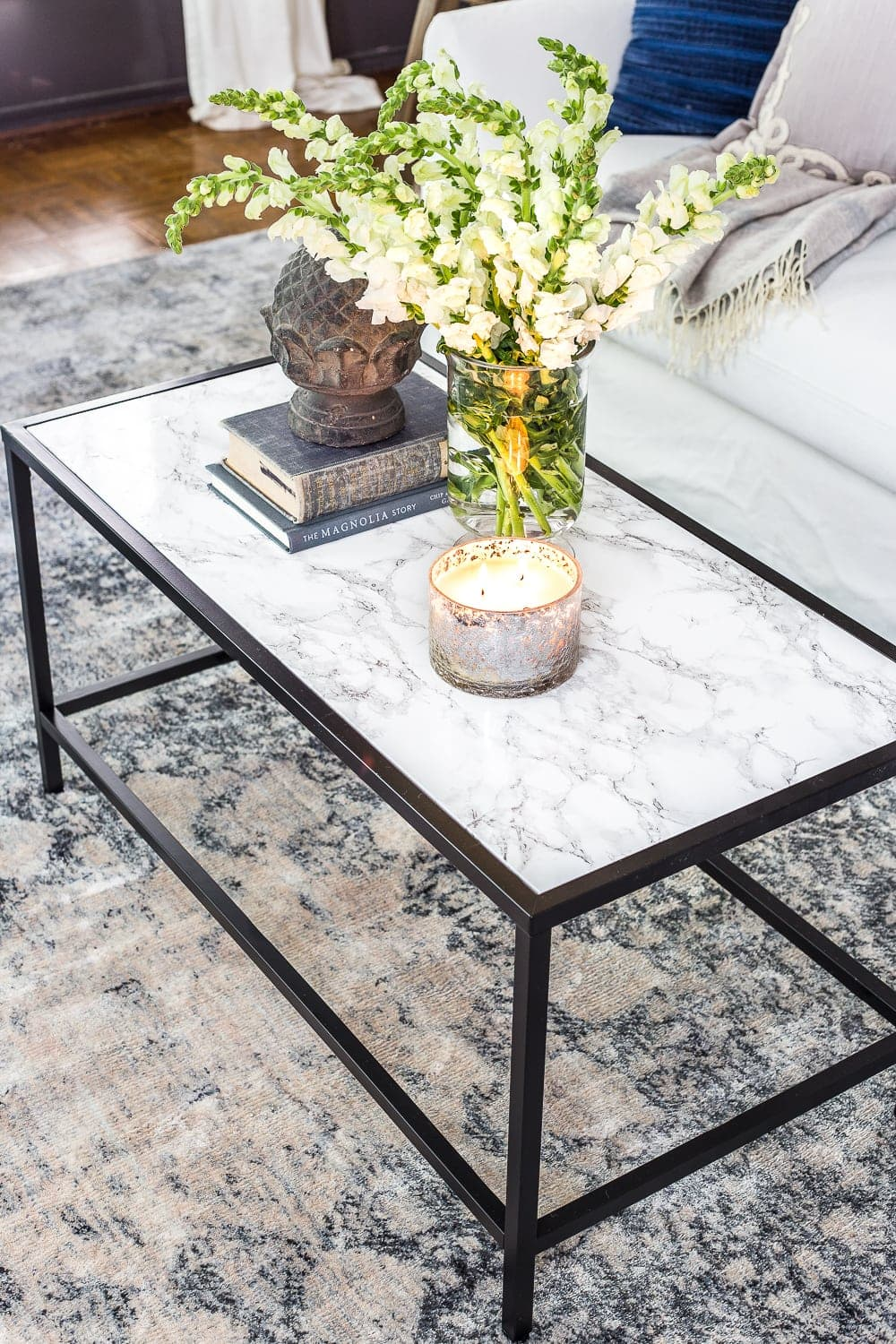 faux marble top coffee table with IKEA Vittsjo