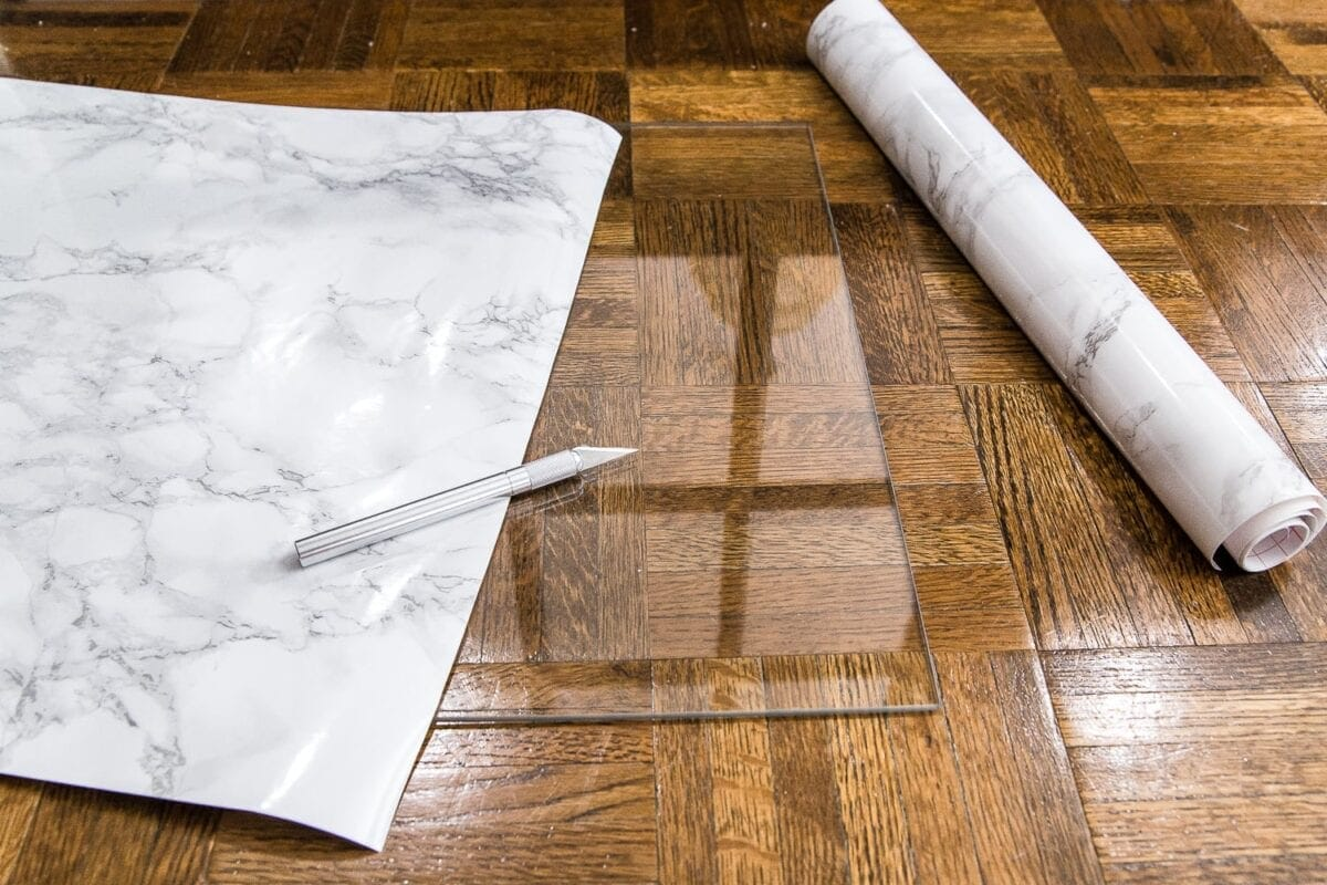 How to cover a glass table top with marble contact paper