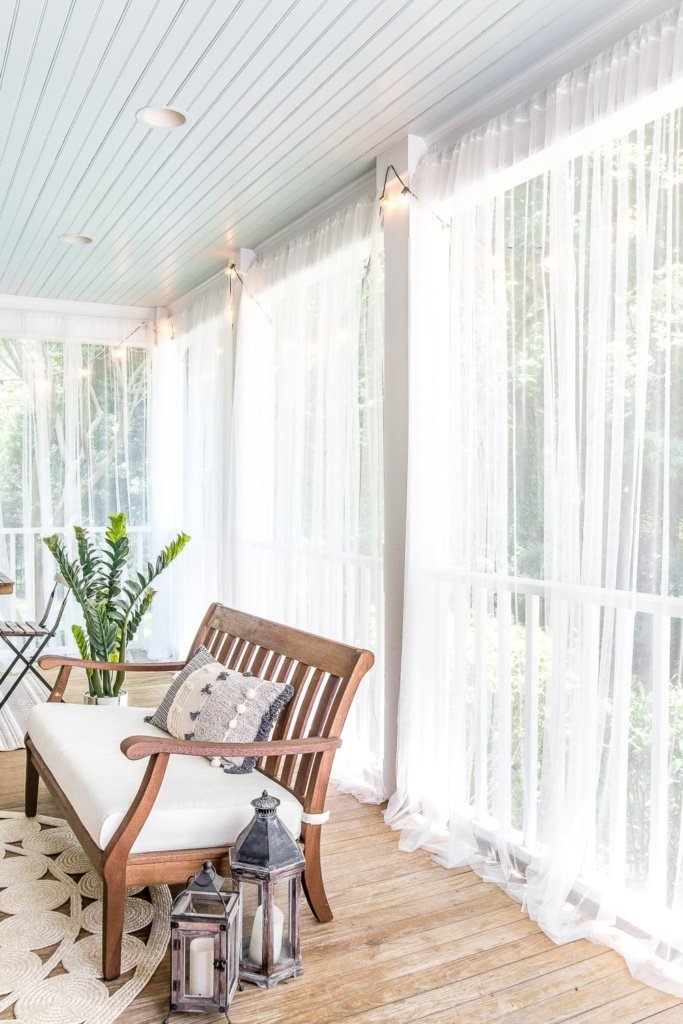 Mosquito Net Outdoor Curtains On Back Porch With Haint Blue Ceiling