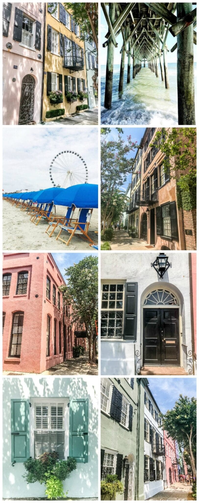 Free Carolina coastal art printable set featuring Rainbow Row in Charleston and the Myrtle Beach Boardwalk