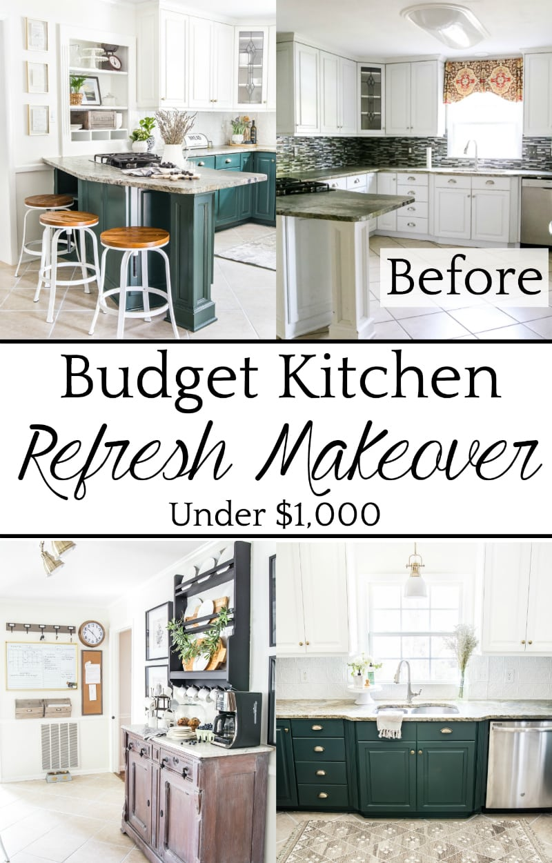 A dated kitchen gets a modern refresh using paint, inexpensive DIY projects, and small changes for a big impact. #kitchenrefresh #kitchenmakeover #budgetkitchen #budgetmakeover #beforeandafter #diykitchen