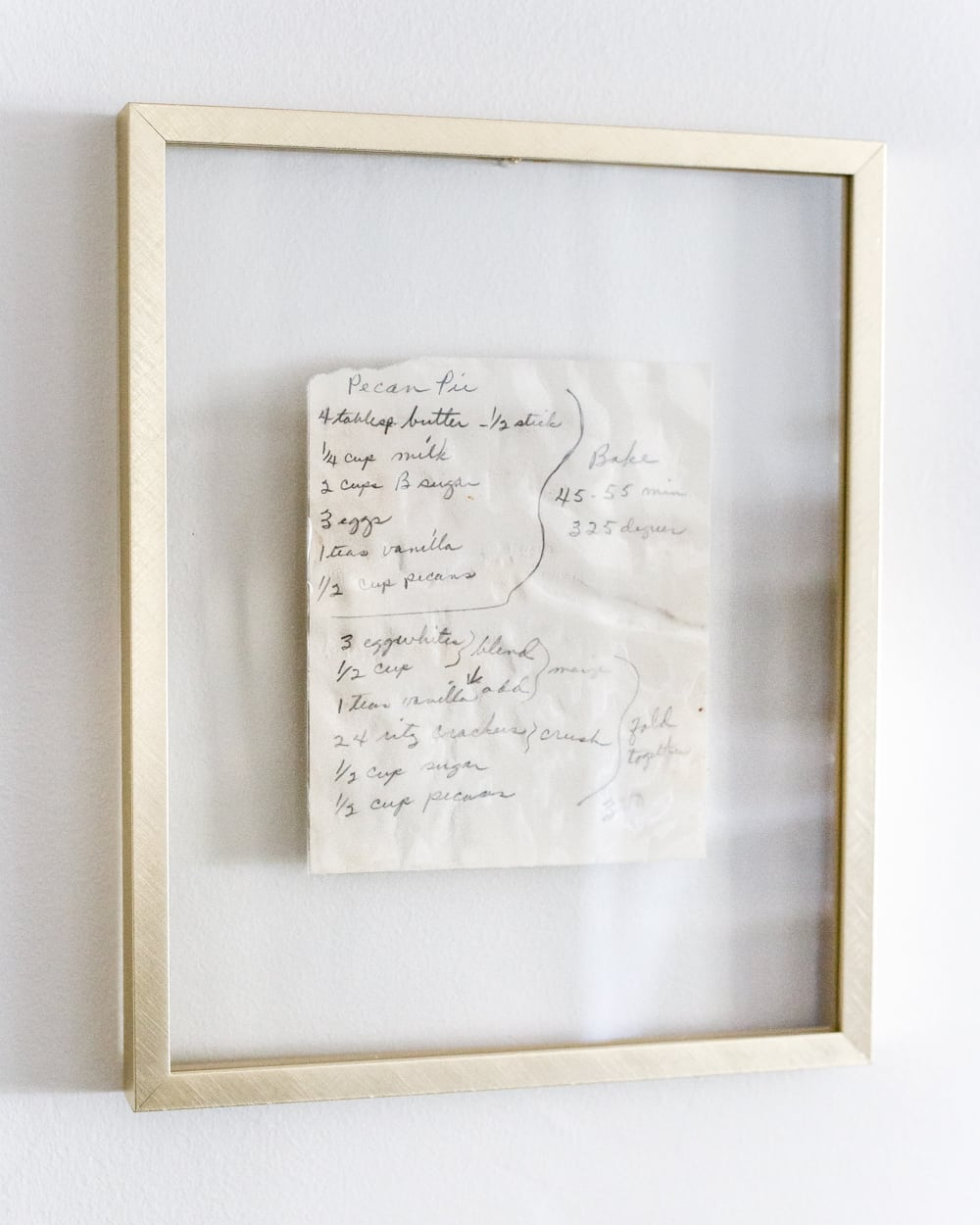 framed handwritten recipe art in float frame