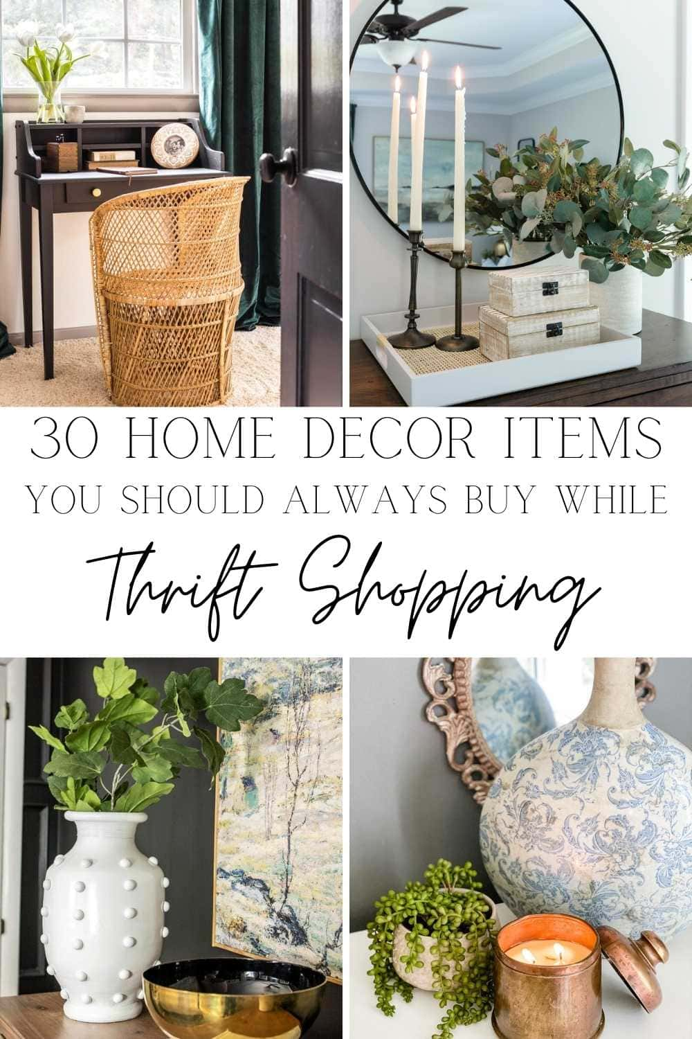 A round-up of 30 of the most common items to buy while thrift shopping that can be transformed into home decor using a few simple changes.