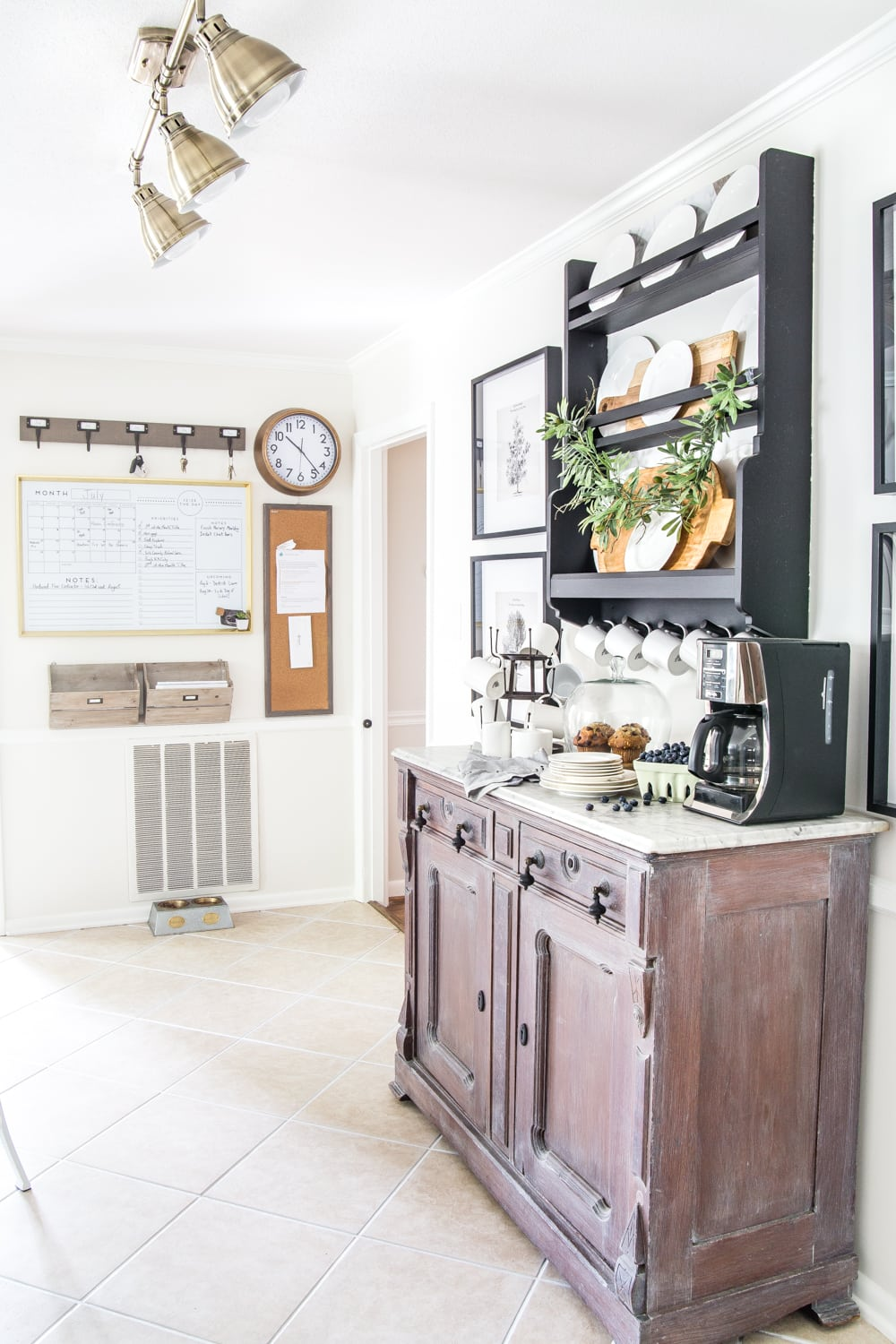 kitchen coffee bar and command center wall