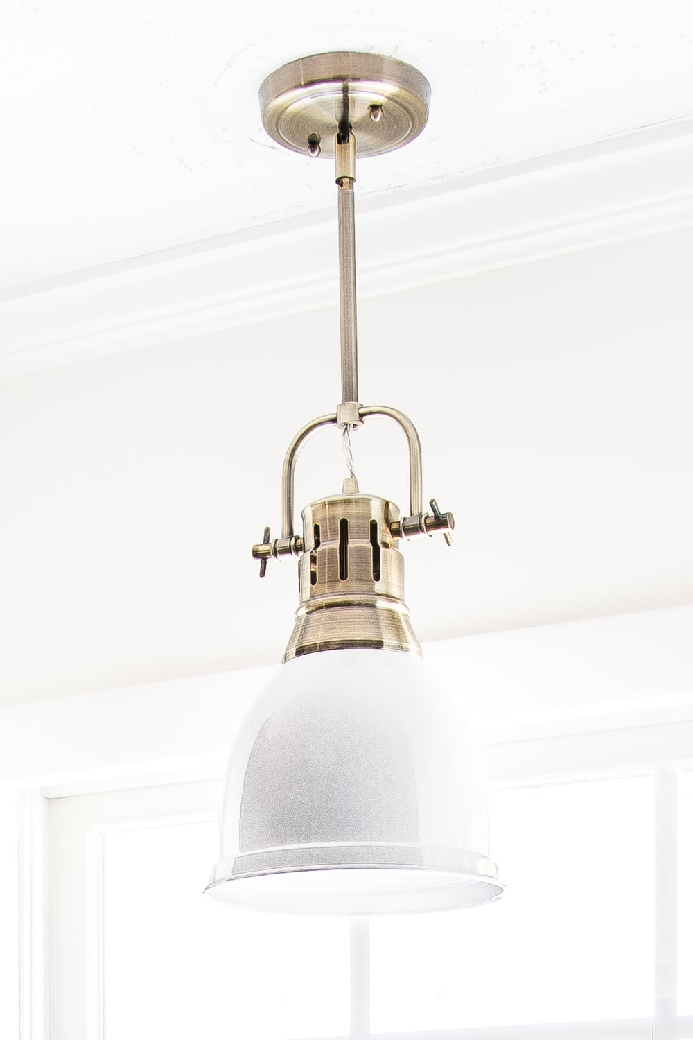 aged brass and white enamel kitchen pendant light