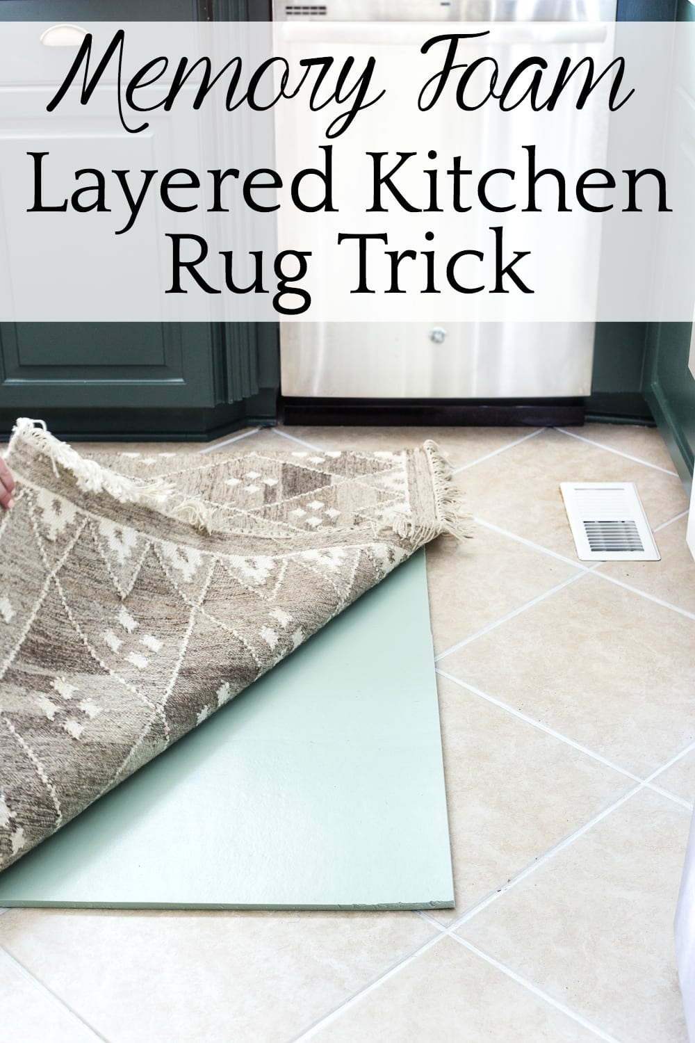 How to refresh tile grout cheaply and easily and add comfort to your kitchen floor with a layered memory foam kitchen rug. #kitchenfloor #kitchenrug #tile