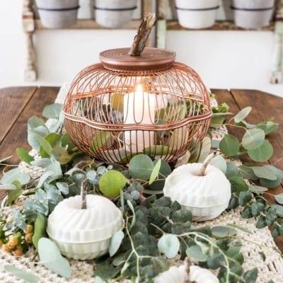 Wire Basket and Bundt Pan Pumpkins