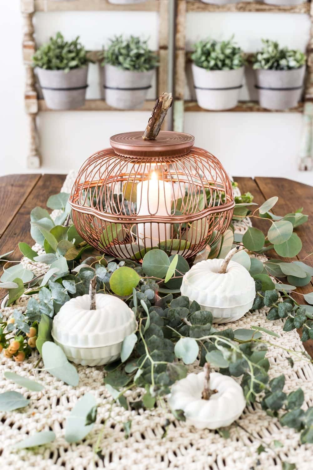 DIY pumpkins using thrifted wire bread baskets and mini bundt pan Jello molds