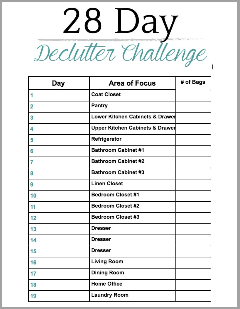 28 Day Declutter Challenge Checklist Printable - How to declutter your entire house without losing your mind, plus tips and a free printable to make the process easier and more efficient.