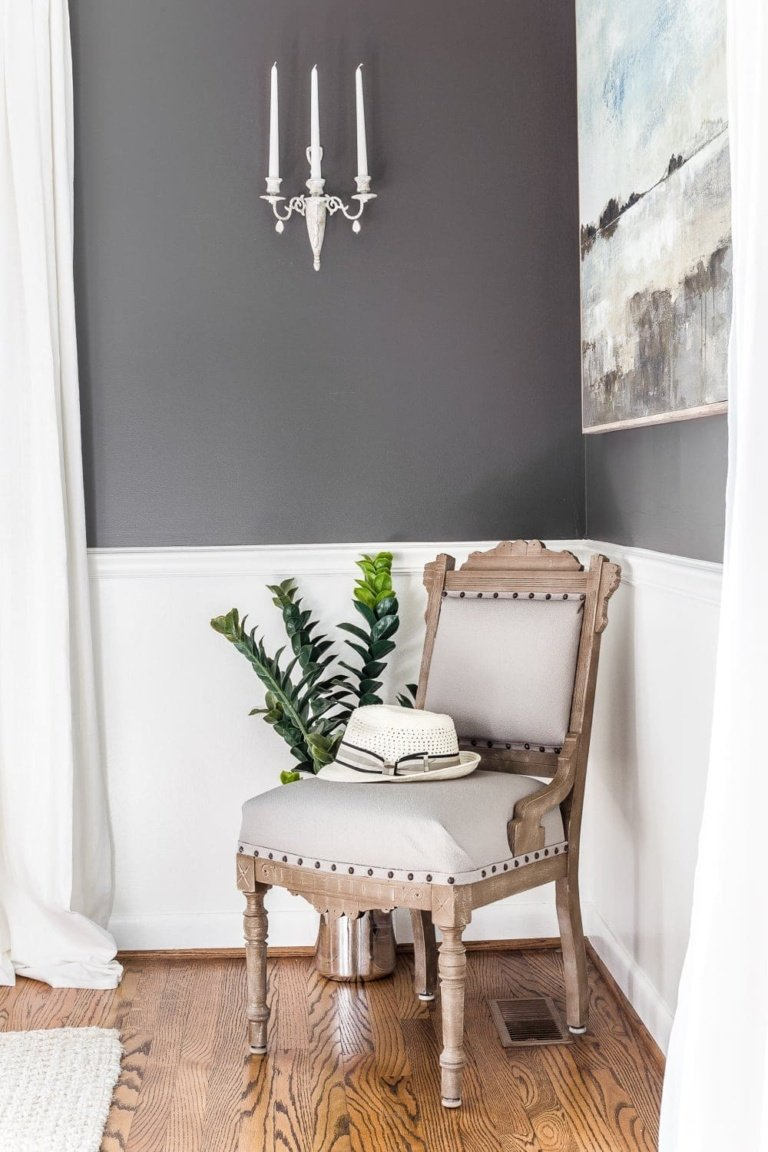 Wood and Linen Spare Chair Makeover