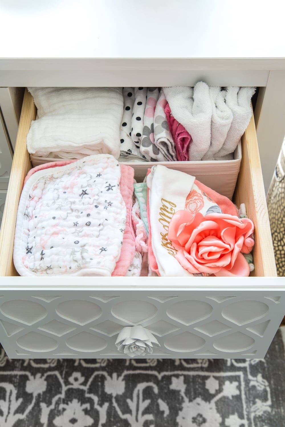 Nursery Organization | Dresser drawers with dividers to store burp cloths, bibs, and hats