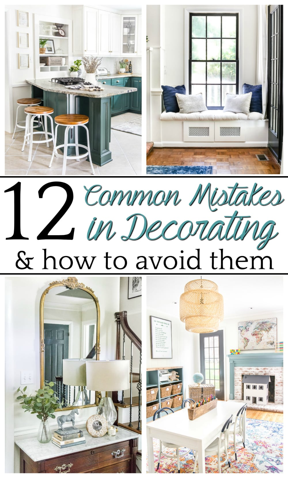 12 of the most common decorating mistakes most people make when choosing paint colors, furniture layouts, and styling, and tips on how to avoid them. #decorating #decoratingmistakes #decoratingtips