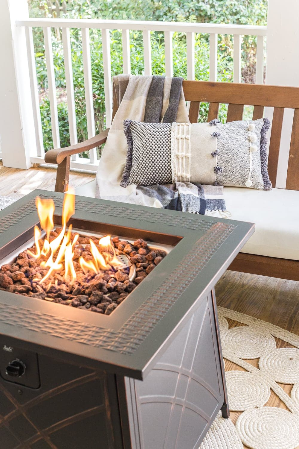 Cozy fall porch with fire pit