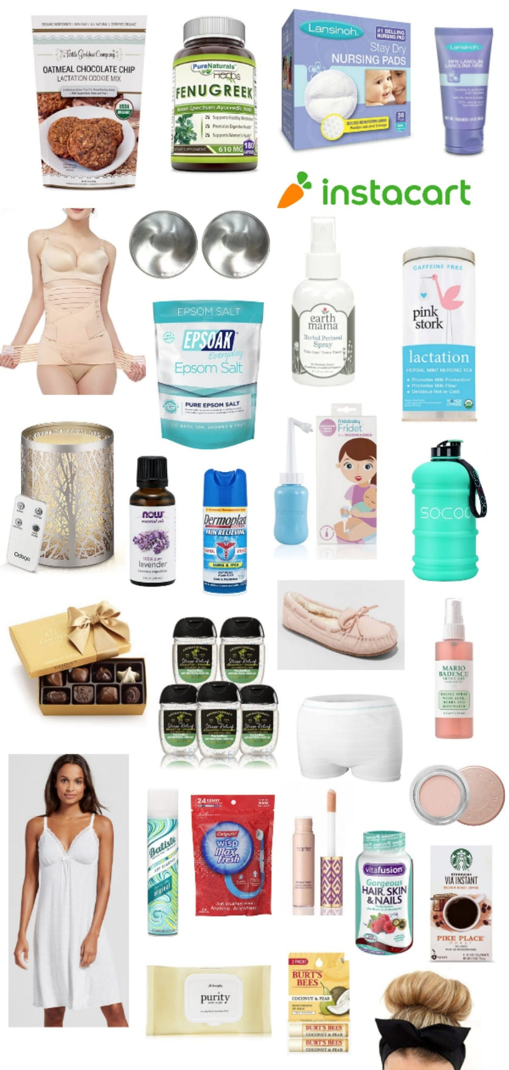 A shopping list gift guide for postpartum recovery to help with lactation, pain relief, hormonal side effects, stress-relief, and self-care to help mom quickly feel like her pretty self again.