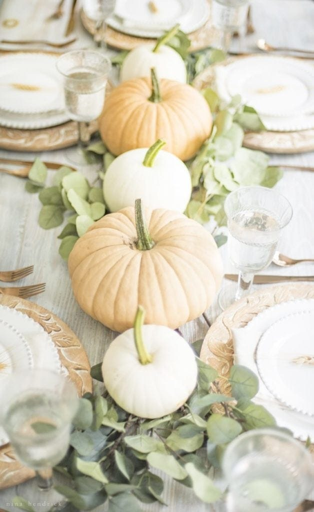 5 Ideas for Creative Thanksgiving Entertaining - Pumpkin and Eucalyptus Centerpiece