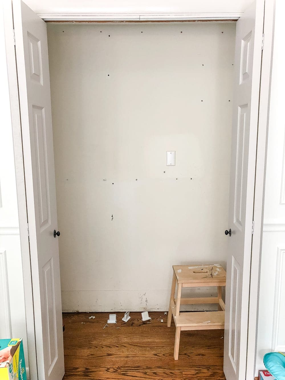 Nursery closet with wire shelving removed