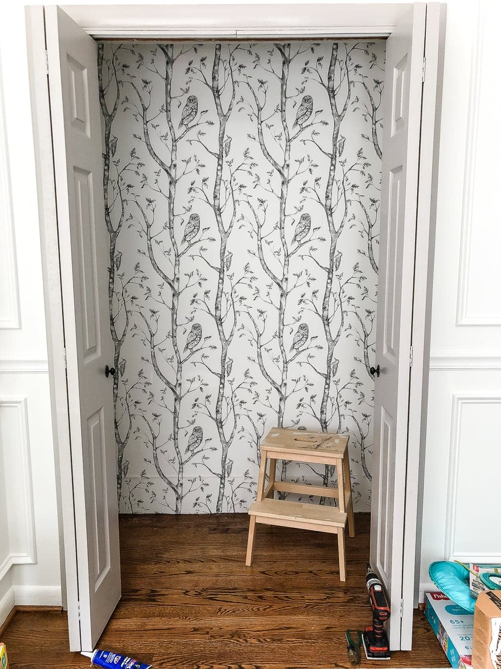Nursery closet with peel and stick gray birch tree wallpaper
