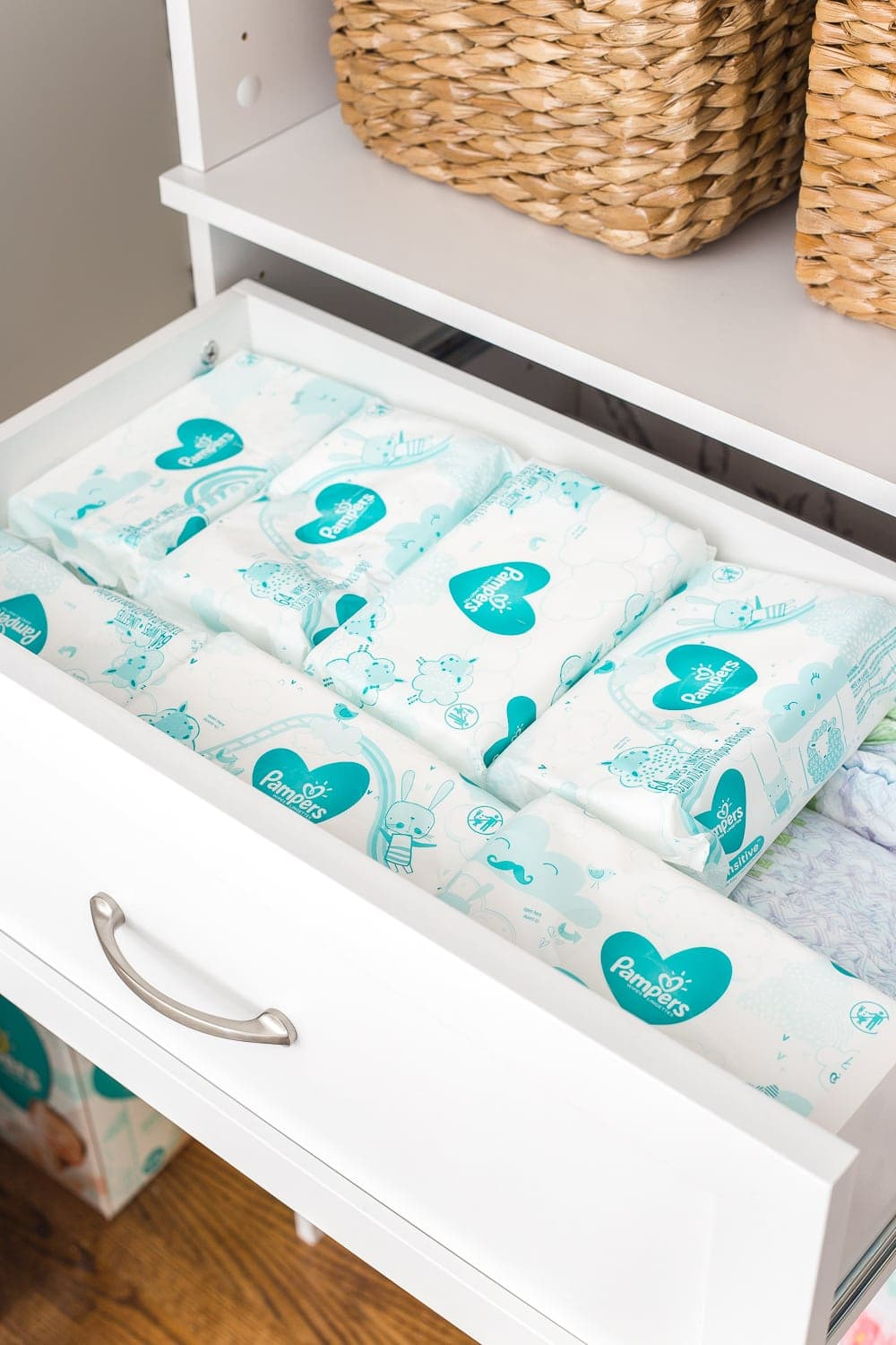 Nursery Organization | Closet drawers with extra disposable wipes and diapers