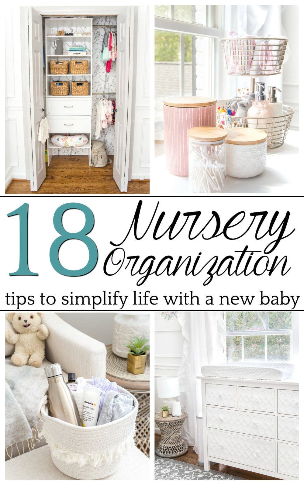 Nursery organization strategies to keep feeding, clothing, and diapering essentials easy to navigate and make baby care less stressful. #nurseryorganization