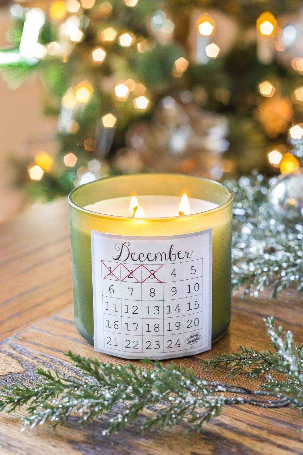 A free printable to make any votive holder an easy Advent calendar candle and count down the days until Christmas. #advent #ChristmasPrintable