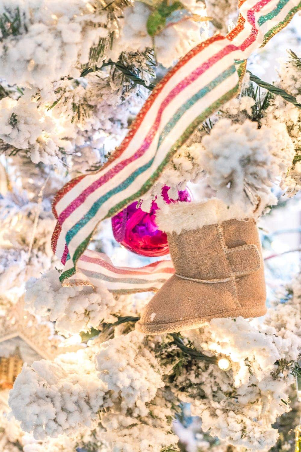 Save your baby's first pair of a shoes and turn them into Christmas ornaments