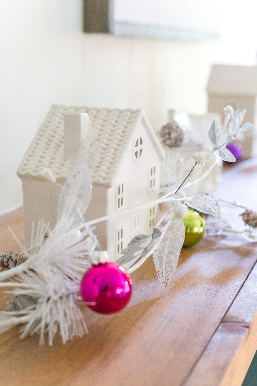 White ceramic house Christmas playroom decorations