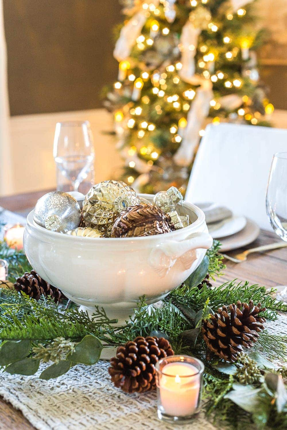 Thrifty Christmas decorating idea: Fill a soup tureen with ornaments for a centerpiece