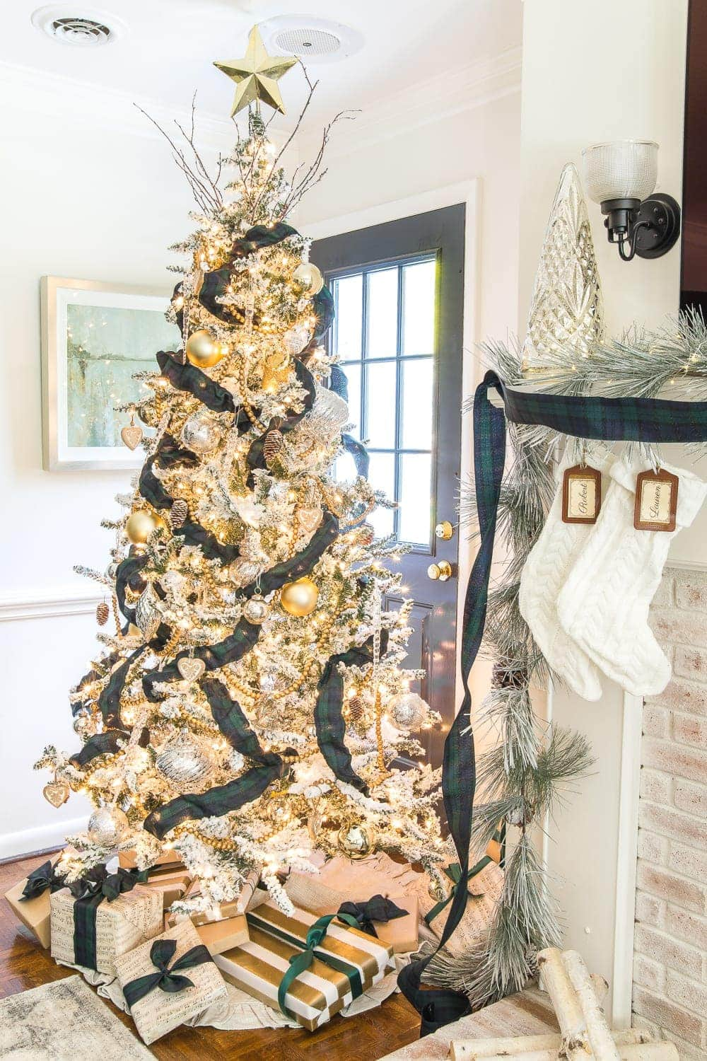 Thrifty Christmas decorating idea: Add ribbon to change up the look of your mantel and tree each year