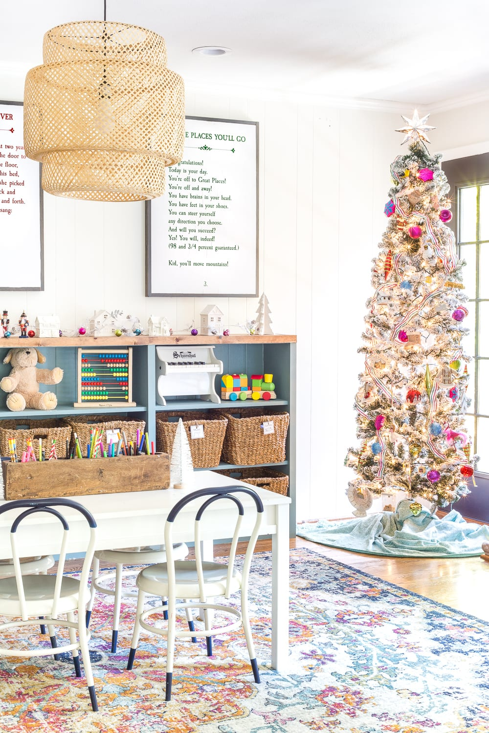 Kids' playroom Christmas tree filled with homemade preschool ornaments