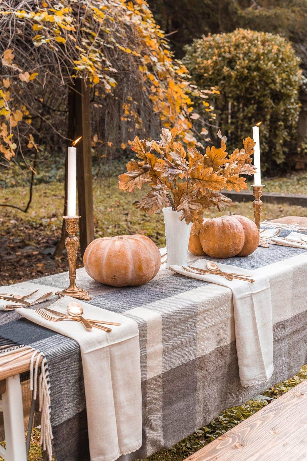 Thanksgiving alfresco beer garden table outdoors