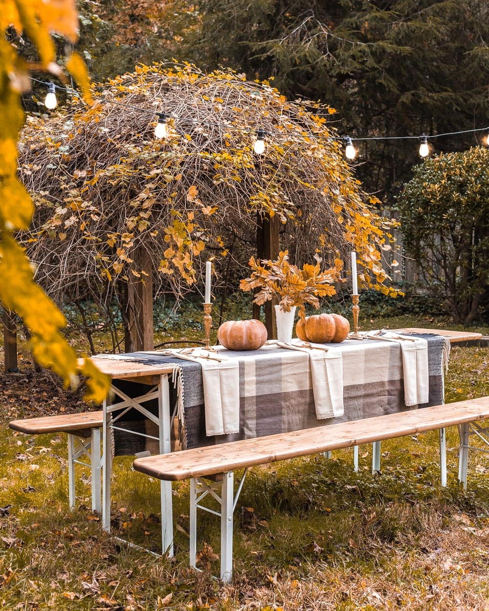 Outdoor Thanksgiving beer garden table