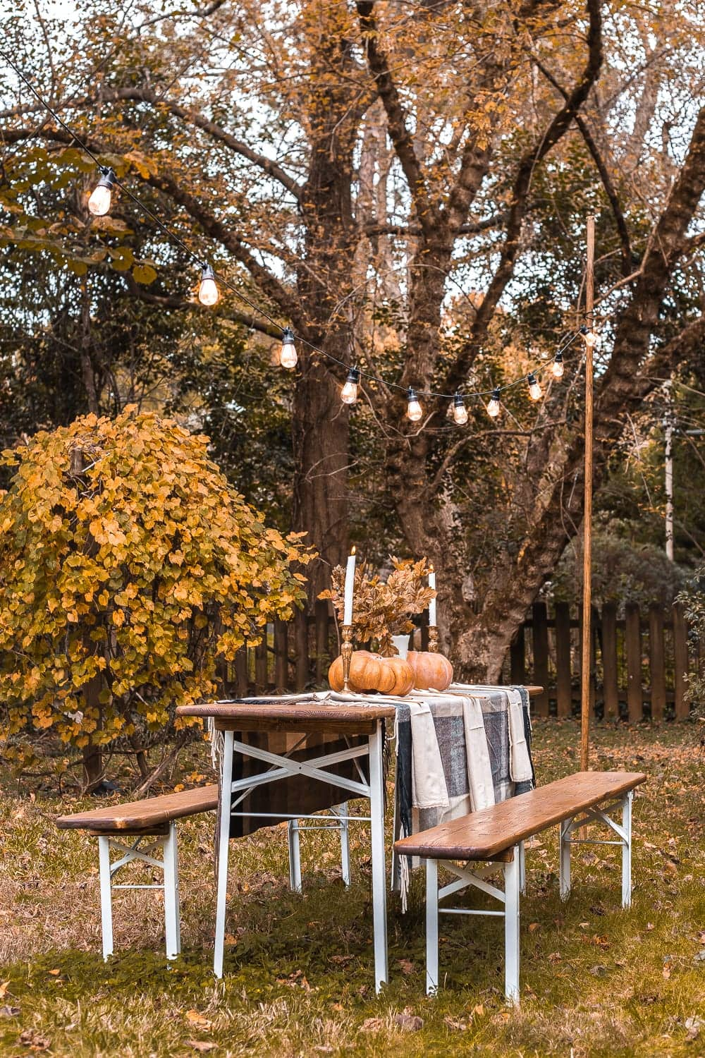 Fall beer garden table alfresco