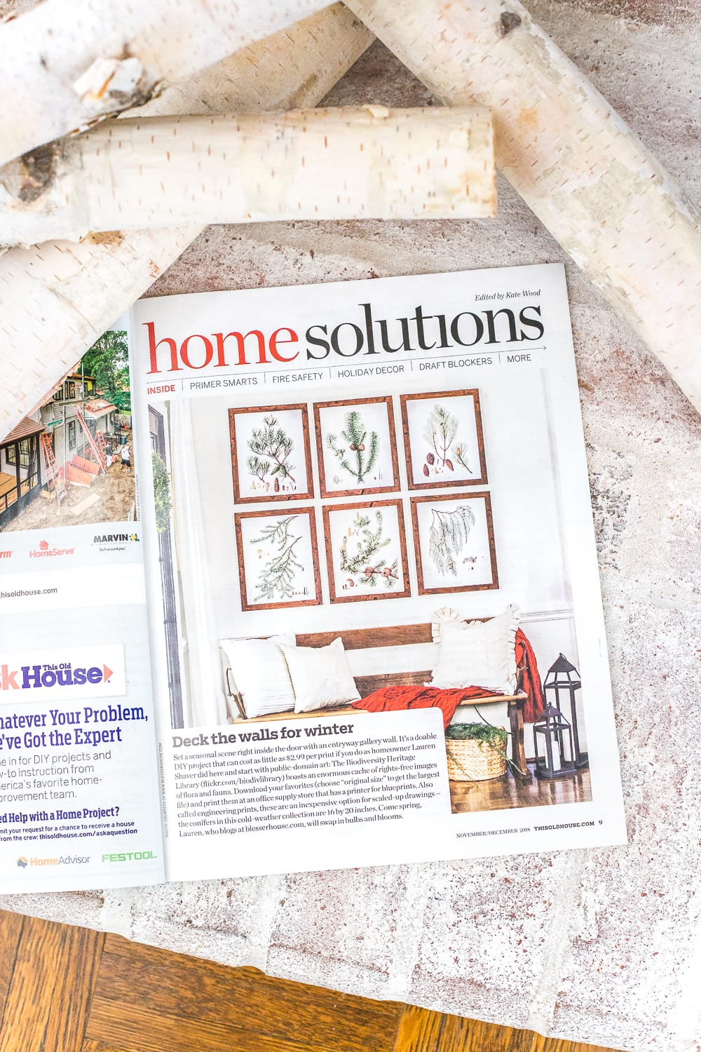 Christmas magazine feature This Old House | Winter Botanical Wall