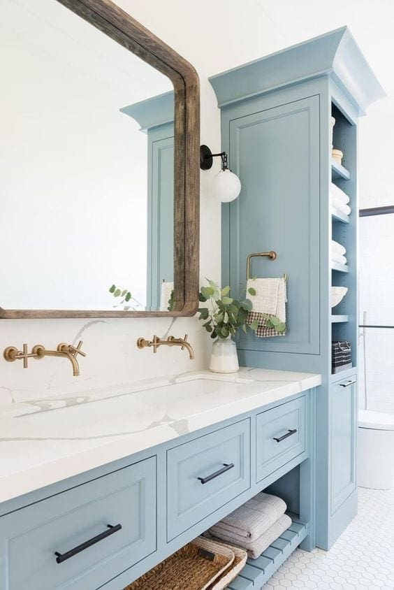 Blue Cabinets Bathroom